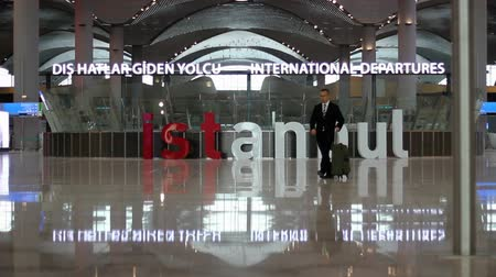 Istanbul  Turkey - November 27 2018: New Istanbul Airport Terminal. Third Istanbul Airport. International Departure Terminal Stock Footage