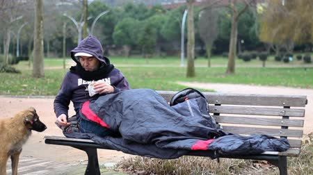 hobo : Homeless man shares Stock Footage