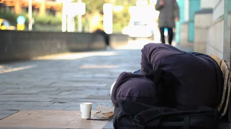 jobless : Sleeping homeless beggar