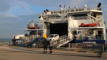 ferry terminal : Guzelyali, Mudanya, Bursa  Turkey - January 20 2019: Istanbul-Bursa line Osman Gazi car ferry, vehicles are landing