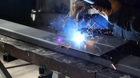 irony : Welder blacksmith man working. With sound Stock Footage