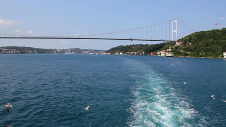 Istanbul landscape from the ship. Bosphorus and Bosphorus Bridge view