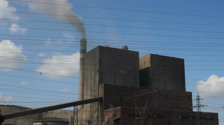 Harmful smoke from thermal power plant chimney. environment, atmosphere pollution