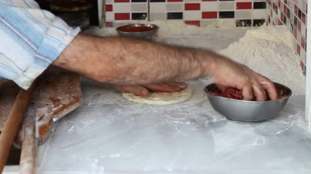 Chef cook making pita with meat Stock Footage