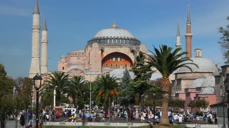 peoples : Hagia Sophia Church Museum a sunny day and peoples. Istanbuls popular touristic destination of Sultanahmet Square. Turkey