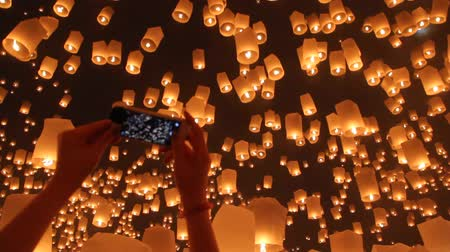 traditional ceremony : Floating asian lanterns in ChiangMai ,Thailand Stock Footage