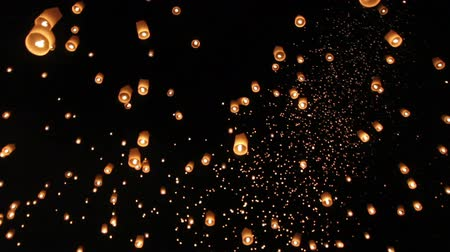 peng : Floating asian lanterns in Yee-Peng festival ,Chiang Mai Thailand Stock Footage