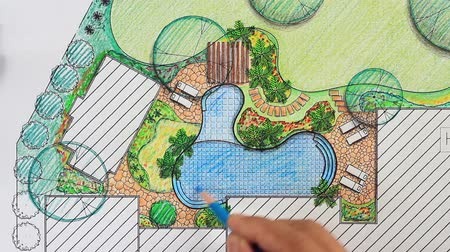 пруд : Landscape architect design backyard plan for villa