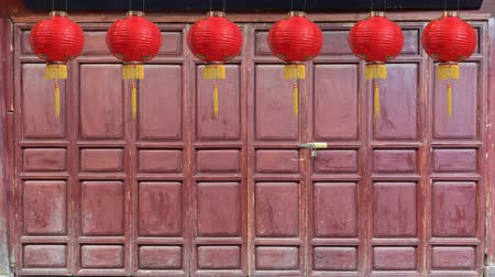 shangri la : Chinese new year lanterns on wooden folding door