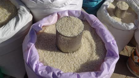 kurutulmuş : Three kind rice in local market , Chiang rai ,Thailand. Japanese rice , Upland rice ,Black rice.
