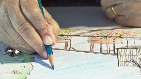 esteem : Elderly woman painting color on her hobby drawing
