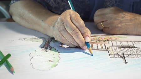důchodce : Elderly woman painting color on her hobby drawing
