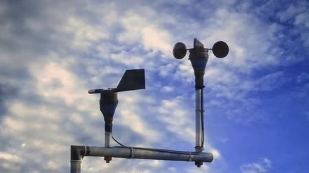 meteorological : Cup anemometer with wind vane for measure the wind speed at meteorology station Stock Footage