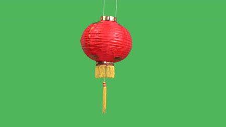 xian : Chinese new year lanterns on green screen
