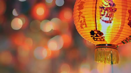 cny : Chinese new year lanterns in chinatown ,blessing text mean have wealth and happy Stock Footage