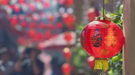 Çin mahallesi : Chinese new year lanterns in chinatown ,blessing text mean have wealth and happy Stok Video