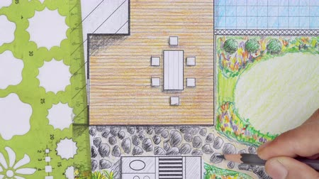peyzajlı : Landscape architect design patio backyard plan for villa Stok Video