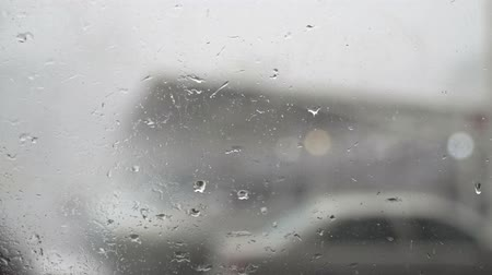 torrential rain : Storm rain at parking lot Stock Footage