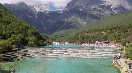 yosma : White Water River or Baishui River And Jade Dragon Snow Mountain ,Lijiang ,Yunnan ,China.  Time lapse ,zoom in.