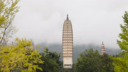 Three Pagodas at Chongsheng temple in Dali, Yunnan ,China. Stock Footage