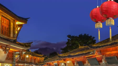 Chinese new year lanterns in Lijiang old town , Yunnan China Stock Footage