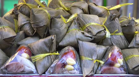 yum yum : Rice dumplings or zongzi in Duanwu Festival Stock Footage