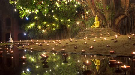 Magha puja day, Monks light the candle for buddha, Chiangmai,Thailand Wideo