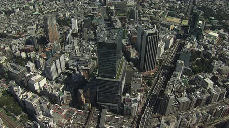 escala : Over Shibuya, Hikarie, Commercial Building, Aerial View Stock Footage