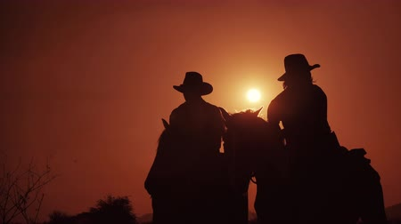 lő : Silhouette of cowboys on horseback at sunset