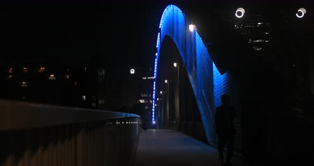 japonská kultura : Walking people on Eitai bridge at night in Tokyo wide shot shallow focus 4 K.