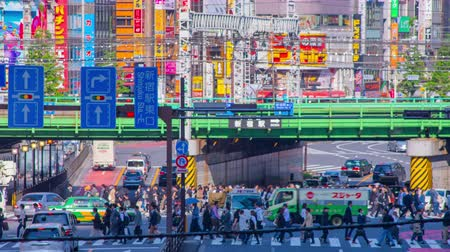 japonská kultura : Crossing at Shinjuku west side 4K time lapse middle shot