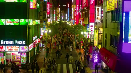 poz : Busy street at South SHINJUKU at night 4K wide shot Stok Video