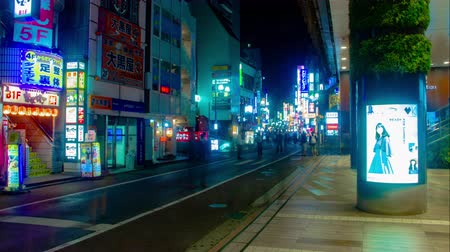 neon lights : Night time lapse at Kichijoji north side middle shot Stock Footage