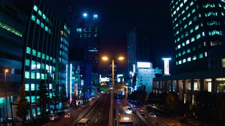 blue red : Night time lapse on the highway in Shiuya deep focus. Stock Footage