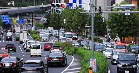 park city : Many cars at the street in Akasaka middle shot deep focus