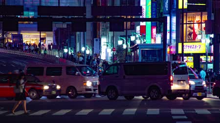 dark green : Rush street at the crossing in Shinjuku night time lapse Stock Footage