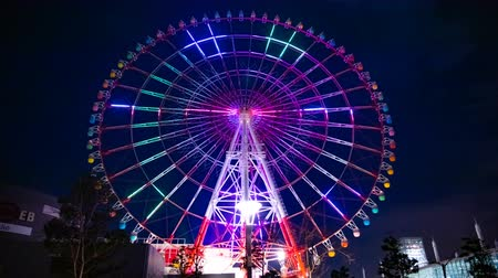 japan : Ferris wheel at night in Odaiba Tokyo time lapse