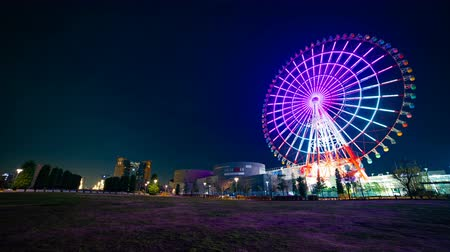 neon lights : Ferris wheel at night in Odaiba Tokyo time lapse