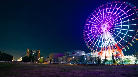 carrossel : Ferris wheel at night in Odaiba Tokyo time lapse
