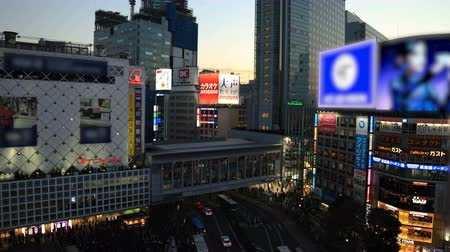 wide angle view : Busy crossing at the neon town in Shibuya Tokyo at dusk wide shot