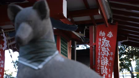 koruyucu : Statue guardian fox at Hanazono shrine in Tokyo