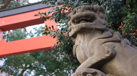 koruyucu : Statue guardian dog at Hanazono shrine in Tokyo