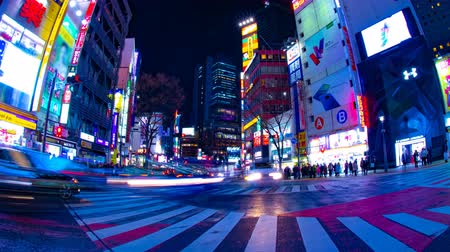 shibuya : Night time lapse crossing at the neon town in Shibuya Tokyo wide shot