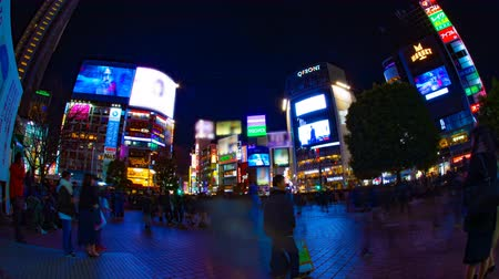 длительной экспозиции : Night time lapse crossing at the neon town in Shibuya Tokyo wide shot