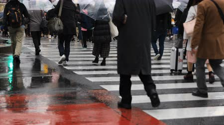 yağmur yağıyor : Walking people at Shibuya crossing in Tokyo rainy day