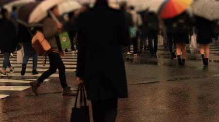 andar : Walking people at Shibuya crossing in Tokyo rainy day