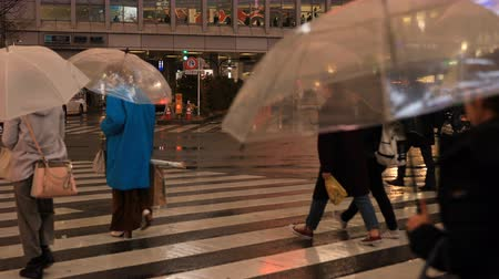 parasol : Walking people at Shibuya crossing in Tokyo rainy day