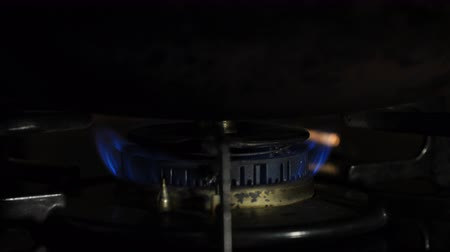 gas burner flame : Ignition of the heat under the wok in the kitchen