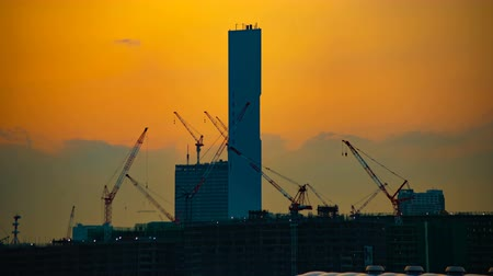 em desenvolvimento : A time lapse of moving cranes at the under construction in Tokyo at dusk Vídeos