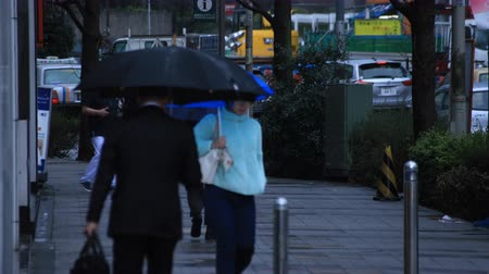 andar : Walking people body parts at the crossing in Shinjuku Tokyo rainy day